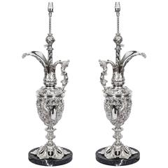 Antique Pair of Silver Plated Bronze Classical Urn Table Lamps, circa 1900