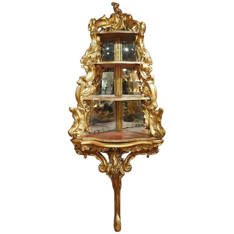 18th Century Italian Giltwood Corner Console For Sale