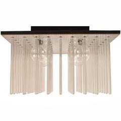 """Set of Five Matching """"Cascade"""" Glass Rod Chandeliers by Lightolier"""