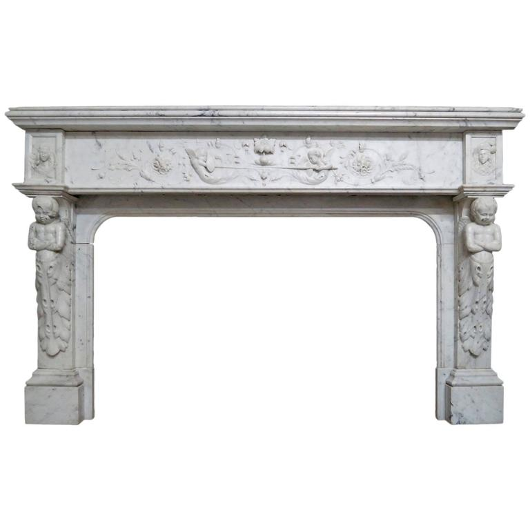 antique french renaissance style marble fireplace mantel for sale at