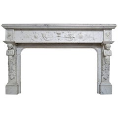 Antique French Renaissance Style Marble Fireplace Mantel