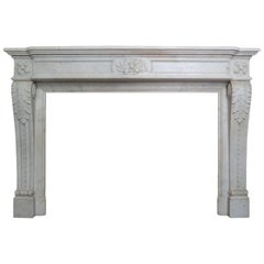 Antique French Louis XVI Style Carved Marble Fireplace Mantel