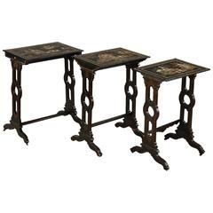 Three Tables with Lacquered Motifs of the Far East, 19th Century, Napoleon III