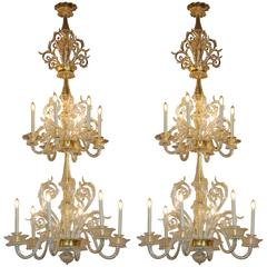 Pair of Murano Chandeliers  Late 19th Century  with 24-Karat Gold Decoration