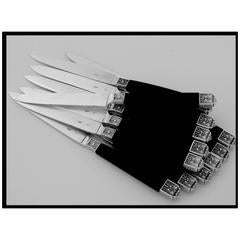 Cardeilhac French Sterling Silver and Ebony Knife Set 12 Pieces Box Renaissance