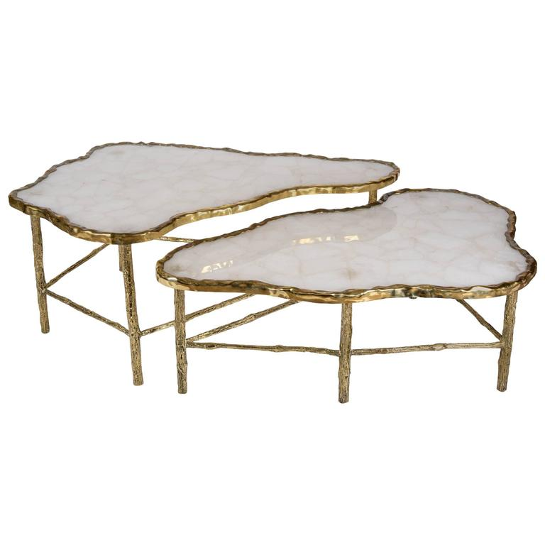 pair of rock crystal coffee tables at 1stdibs