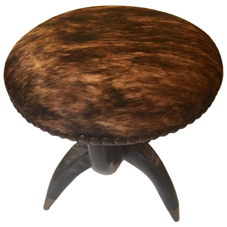 Theodore Alexander Cow Hide And Faux Horn Stool At 1stdibs