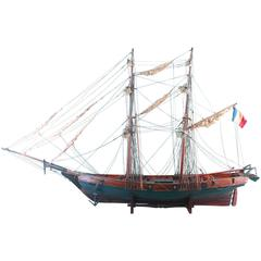 Wooden Scale Model of a French, 19th Century, Two-Master Ship