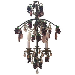 Elegant Bronze and Crystal Fruit Adorned Light Fixture
