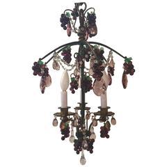 Elegant Bronze and Crystal Fruit Adorned Light Fixture