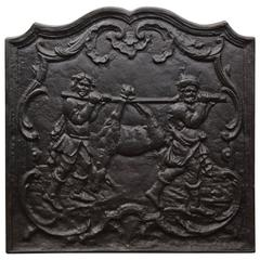 19th Century French Iron Fireback with Hunting Scene