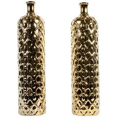 Mid-Century Art Deco Pair of Tall Gold Decorative Pieces