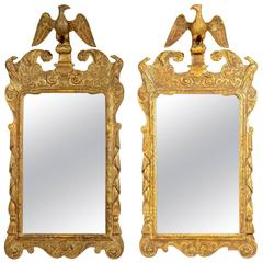 Pair of George II Giltwood Mirrors with Eagles