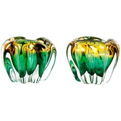 Vintage Pair of Murano Glass Decorative Pieces