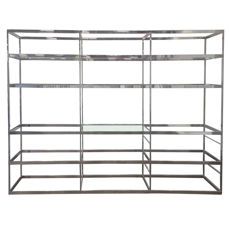 Chrome Etagere with Glass Shelves