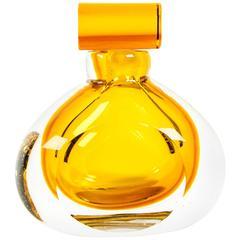 Vintage Amber Crystal Decorative Perfume Bottle