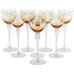 Vintage Saint Louis Amber Set of Eight Glasses