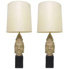Pair of Buddha Table Lamps in the Manner of James Mont