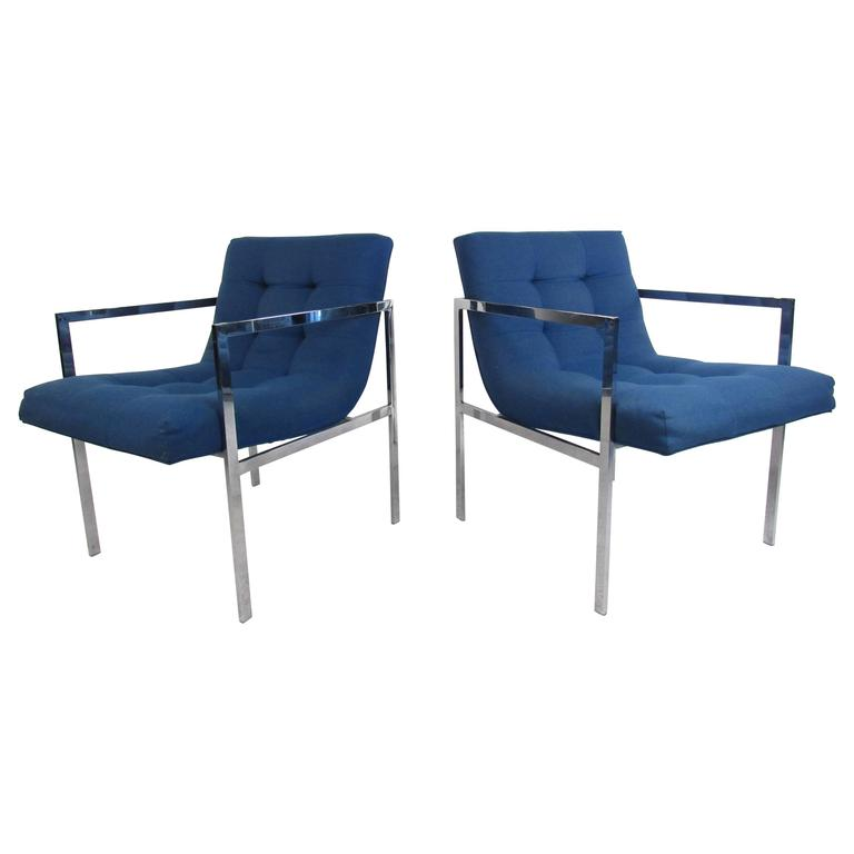 Vintage Milo Baughman Style Tufted Armchairs