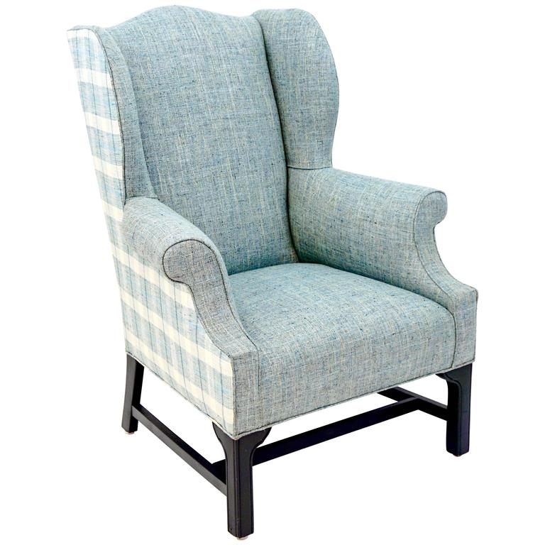 Antique Wingback Chair Newly Upholstered in Tweed and Plaid For Sale - Antique Wingback Chair Newly Upholstered In Tweed And Plaid For Sale