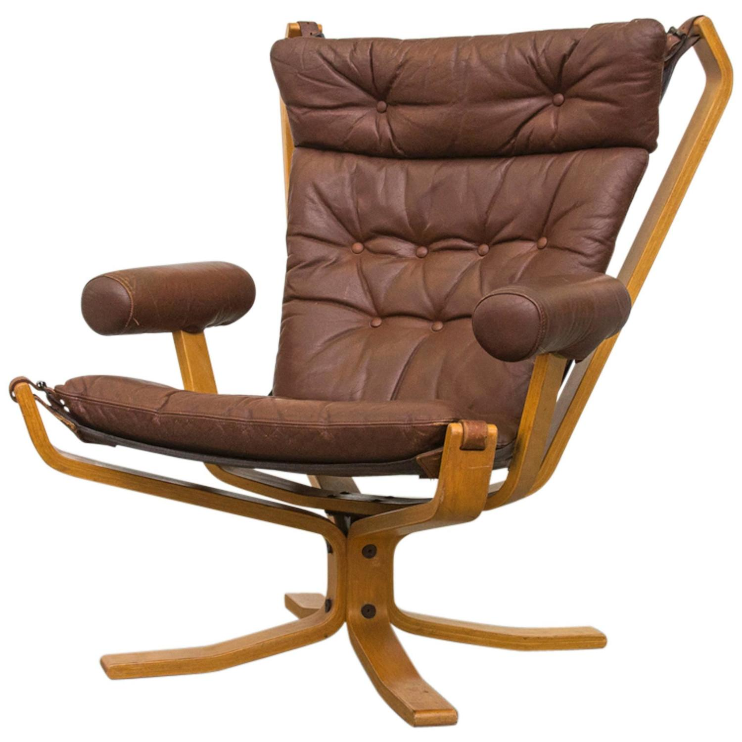 Falcon High Back Leather Lounge Chair For Sale At 1stdibs