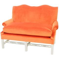 Vintage Chippendale-style Settee in Tangerine Velvet