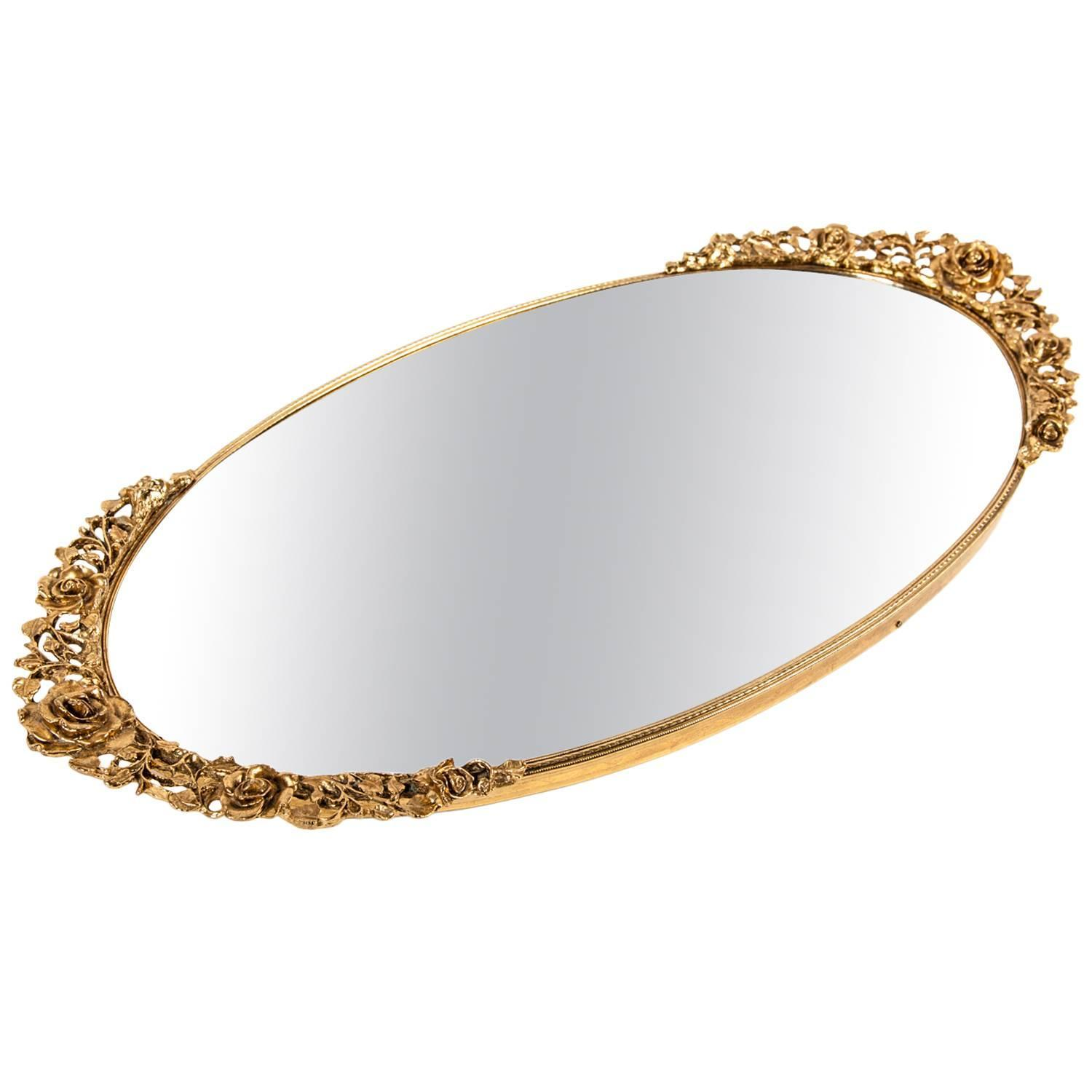 Vanity Lights For Oval Mirror : Vintage Gilded Oval Vanity Mirror at 1stdibs