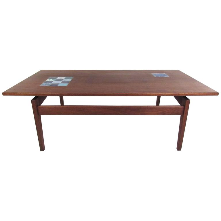 Jens Risom Coffee Table with Ceramic Tile Inlay