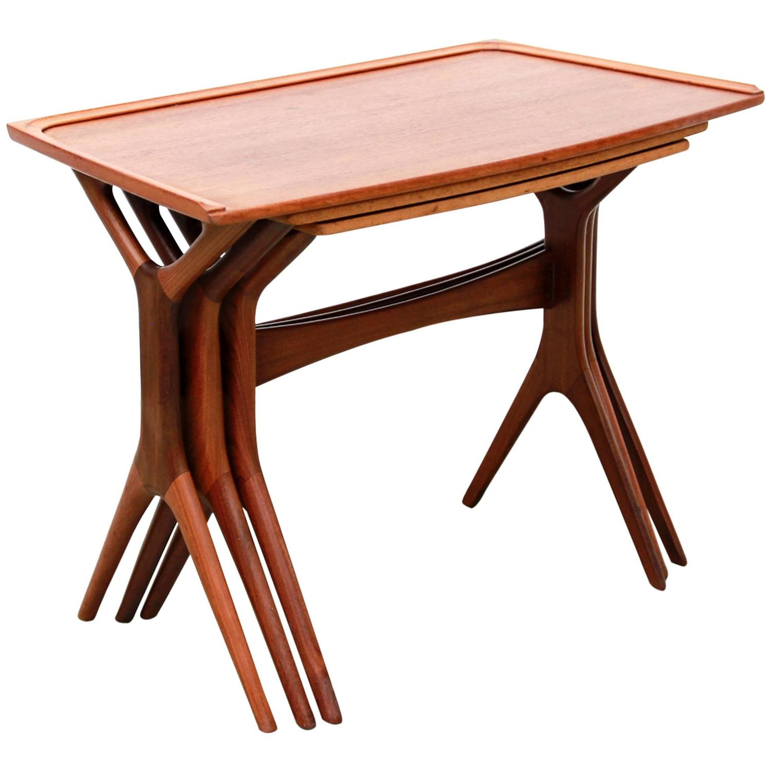Rare Set Of Teak Wooden Nesting Tables By Johannes Andersen Silkeborg . Full resolution  portraiture, nominally Width 1500 Height 1500 pixels, portraiture with #AD4C1E.