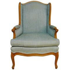 Louis XV Style French Linen Wingback Chair