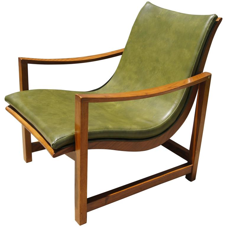 Rare Leather-Embossed Lounge Chair by Edward Wormley for Dunbar