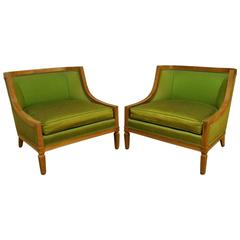 Pair of Mid-Century Barrel Back Club Chairs