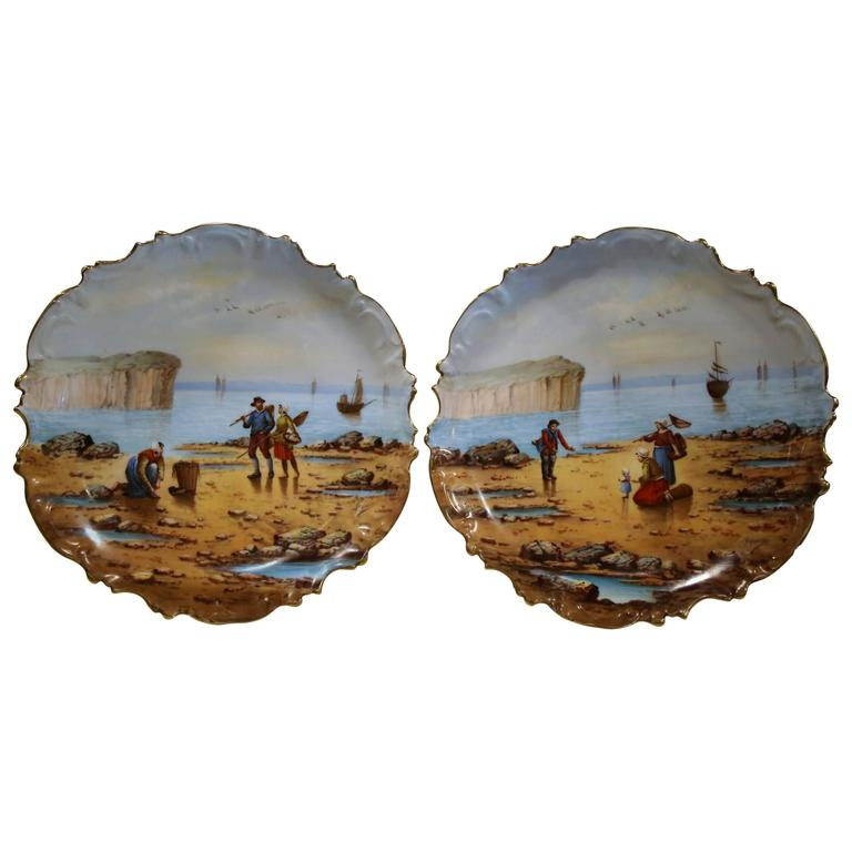 Pair of 19th Century French Porcelain Fishing Scenes Wall Plates Signed Francis