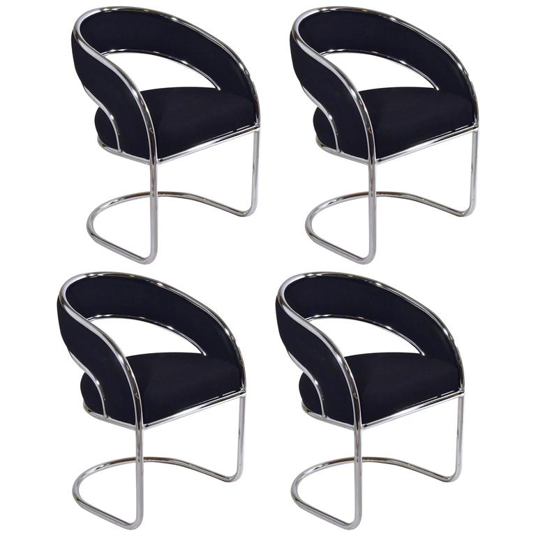 S/4 Mid Century Modern Upholstered In Black Wool And Chrome Armed Dining  Chairs