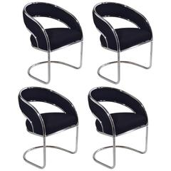 S/4 Mid-Century Modern Upholstered Chrome Sling Back Chairs