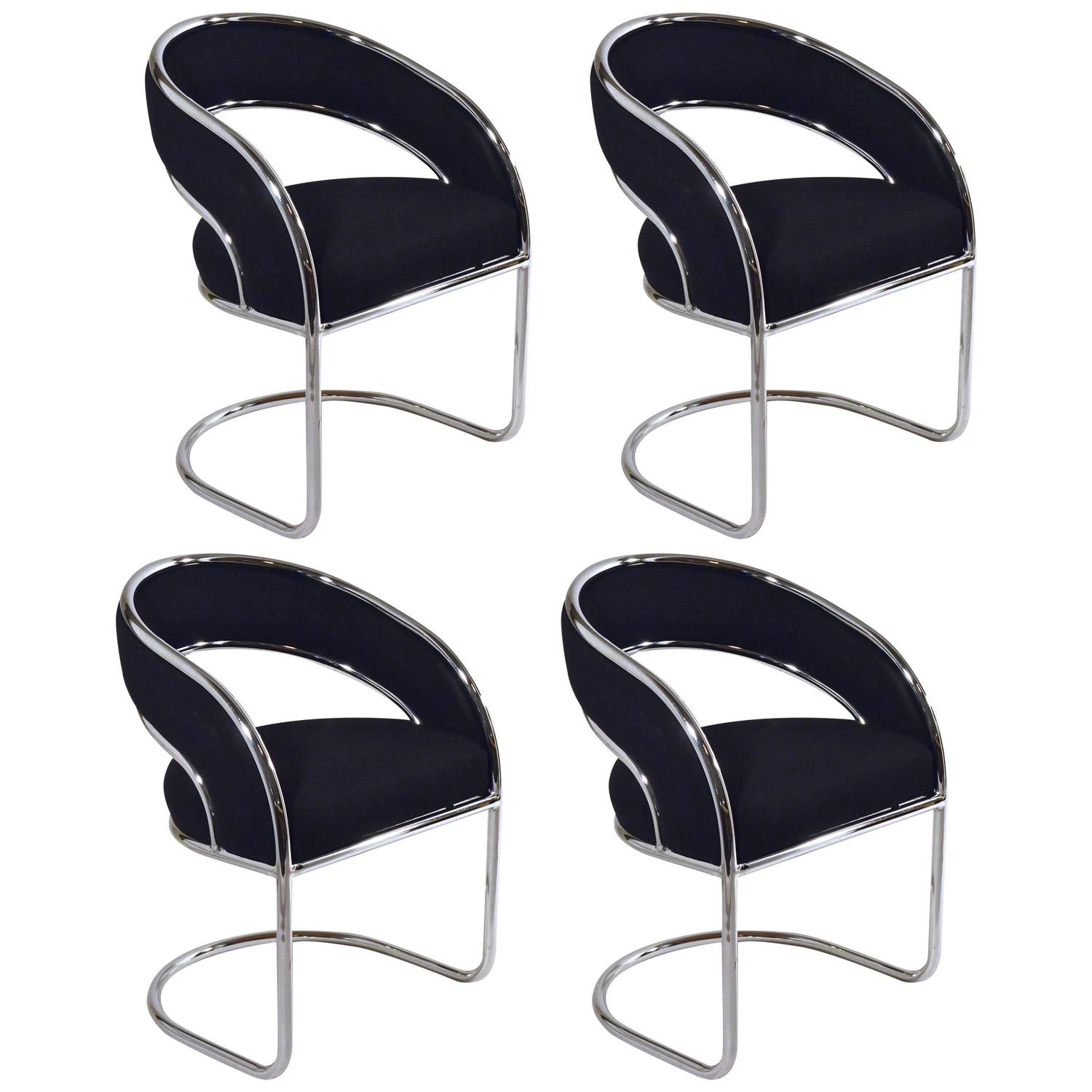 S 4 Mid Century Modern Upholstered Chrome Sling Back Chairs For