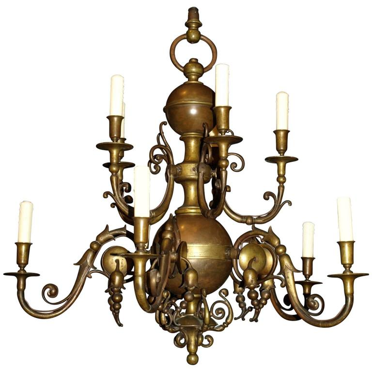 Antique Chandelier. Dutch Bronze Chandelier 1 - Antique Chandelier. Dutch Bronze Chandelier For Sale At 1stdibs