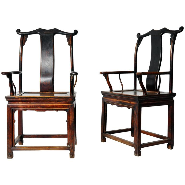 Pair of Ming Dynasty Style Yoke-Back Armchairs