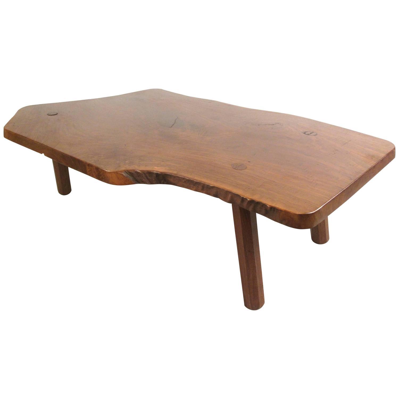 Rustic Wood Slab Coffee Table For Sale At 1stdibs: Vintage Rustic Tree Slab Free Edge Coffee Table For Sale