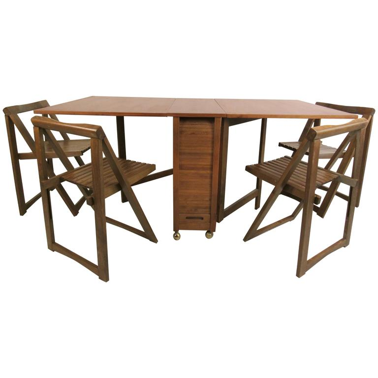 Mid Century Modern Drop Leaf Table With Chairs At 1stdibs