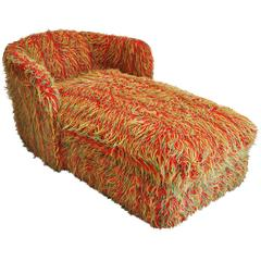 Midcentury Fuzzy Chaise Lounge