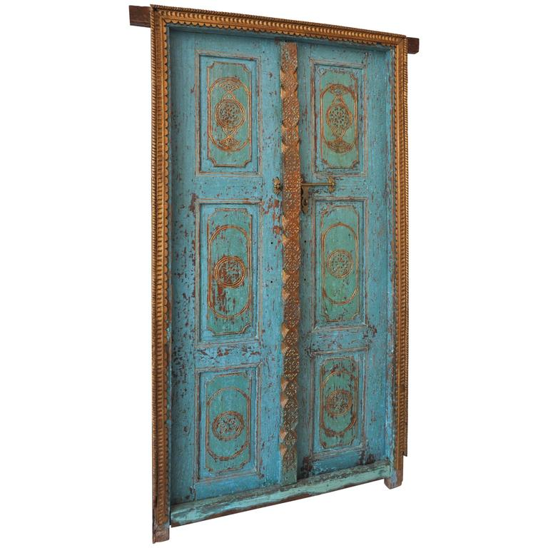 Antique Indian Gilded Doors 1 - Antique Indian Gilded Doors At 1stdibs