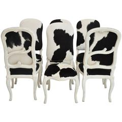 Set of Six Hide on Hair Faux Bois Chairs