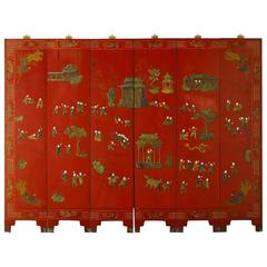 Six-Panel Chinese Red Lacquer Screen with Hardstone Inlay