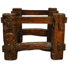 19th Century Chinese Elmwood Horse Feeder Coffee Table Base