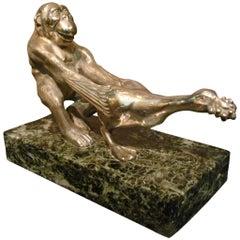 Art Deco Silvered Bronze Monkey sculpture Bookends by Becquerel