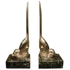 Art Deco Silver Plated Bronze Birds Bookends, M. Bouraine