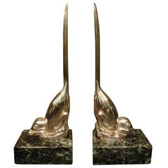 Art Deco Silver Plated Bronze Birds Bookends, M. Bouraine
