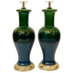 Pair of Blue and Green Glazed Table Lamps