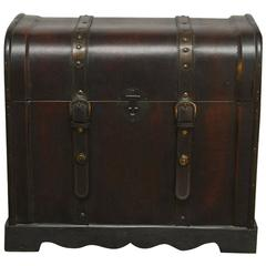 Chinese Leather Camphor Wood Trunk on Stand